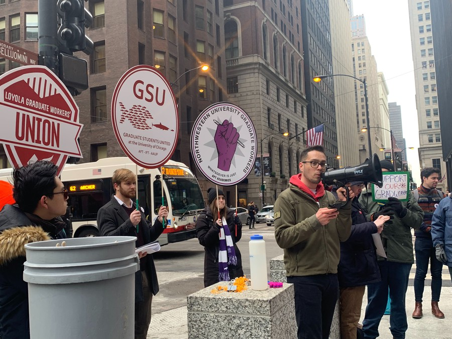 UChicago Graduate Students United Co-President for Bargaining, Claudio Gonzales, addressed representatives of several Chicago-area graduate student unions.