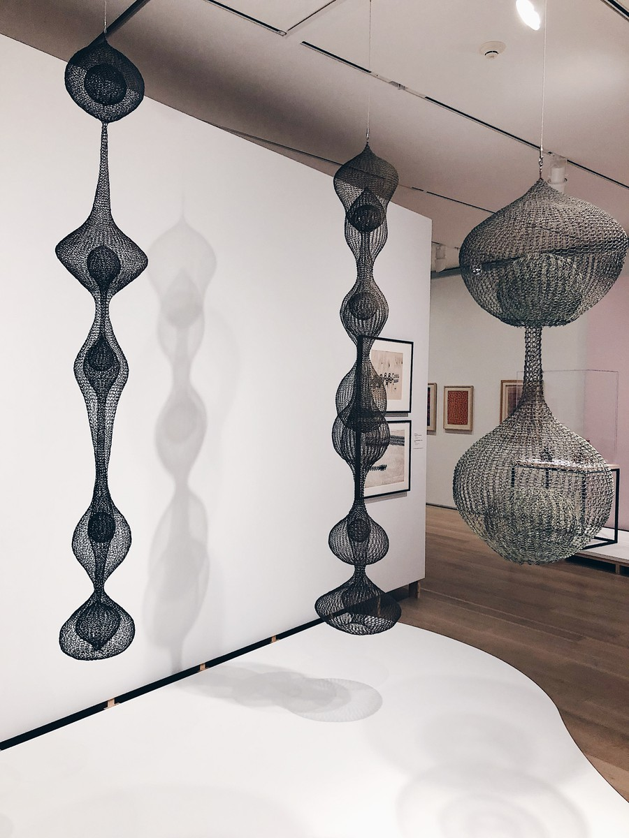 Ruth Asawa's famous looped-wire sculptures, currently on display at the Art Institute of Chicago.