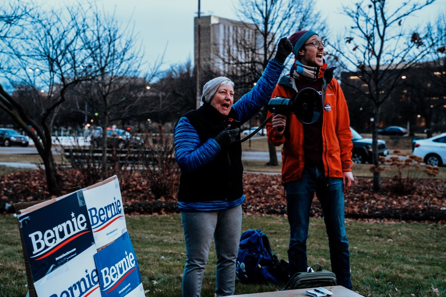 Maria Bell and James Skretta speak at a rally in support of presidential candidate Bernie Sanders.