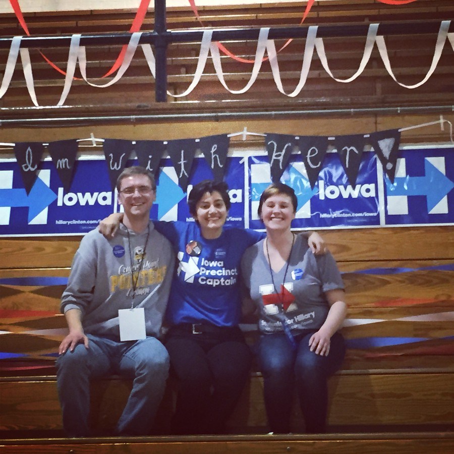 Hannah Gregor, right, and friends at a caucus in Iowa in 2016. Gregor is a graduate student coordinating a remote Iowa caucus at University Church in February 2020.