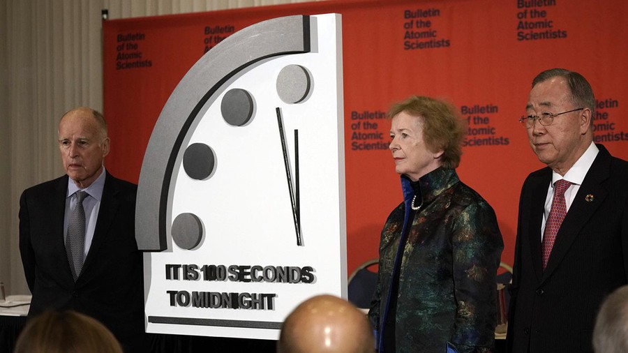 A photo of the Doomsday Clock being advanced during a Jan. 23rd, 2020 ceremony.
