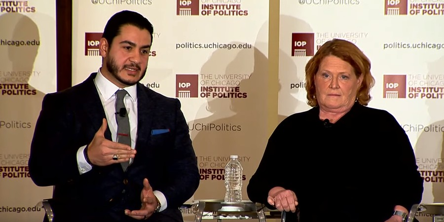 IOP Fellow and former director of the Detroit Health Department Abdul El-Sayed, left, and former North Dakota senator Heidi Heitkamp discussed the current rift between factions of the Democratic party at an IOP event on January 21.