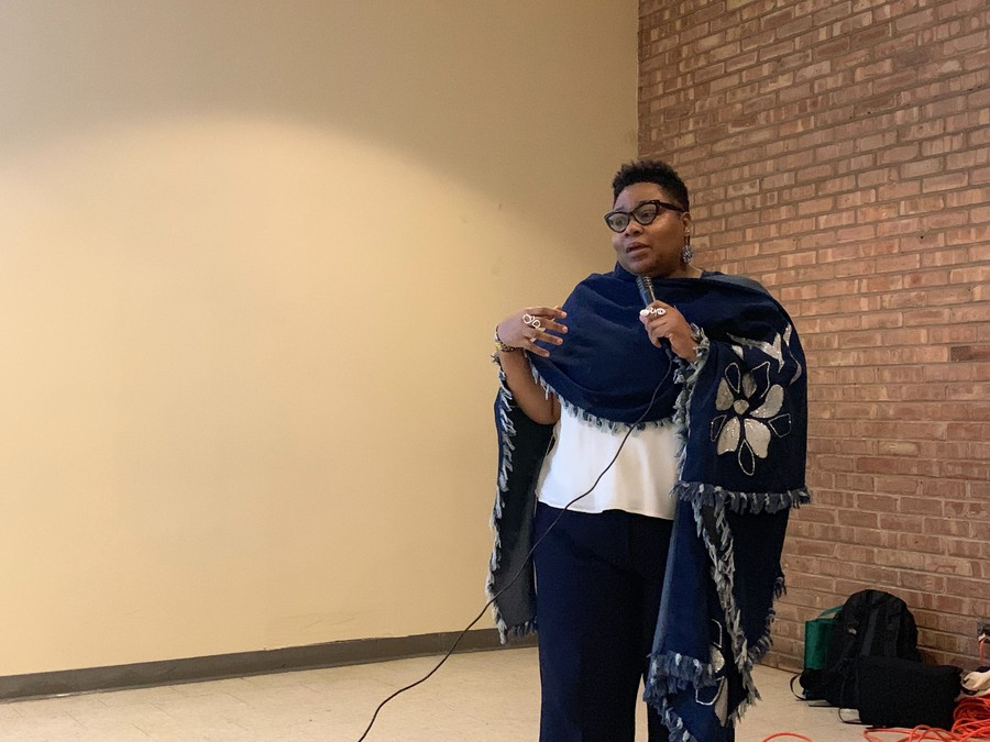 Alderman Jeanette Taylor addresses attendees at Tuesday's forum on possible community displacement.