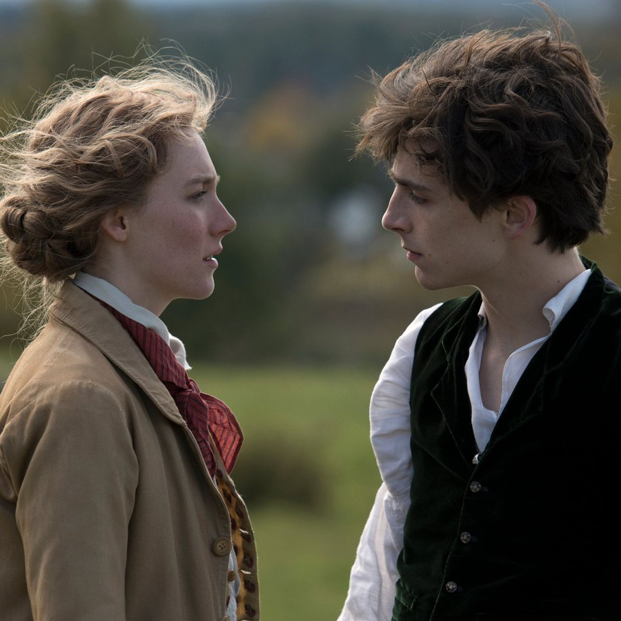 "Saoirse Ronan and Timothée Chalamet in Greta Gerwig's adaptation of ""Little Women"""