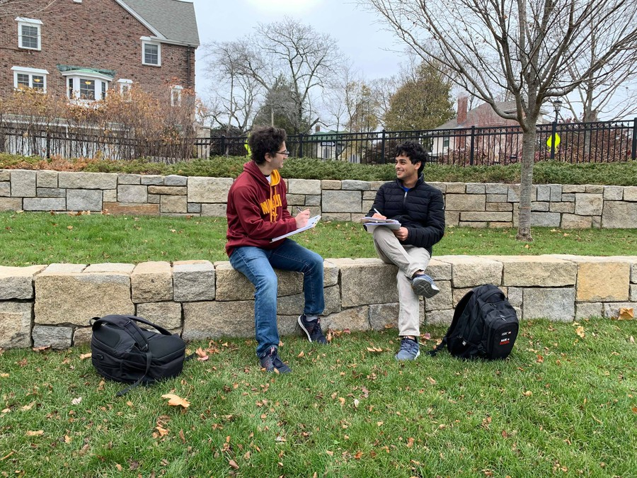 Ben Konstan and Rahul Jaitly at Boston College while researching for the External Report