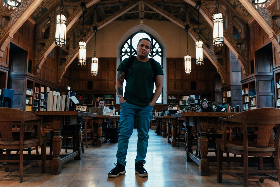 Tyler Edwards, a member of the College's veteran cohort, served in the Navy for four years before he came to UChicago.