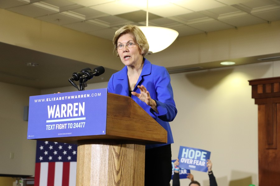 Senator Elizabeth Warren address the crowd at her Des Moines rally on the night of the 2020 Iowa Caucuses.