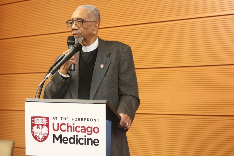 Congressman Bobby Rush, who serves Illinois's first congressional district, spoke at a press conference at UChicago Medicine on February 23, 2020.