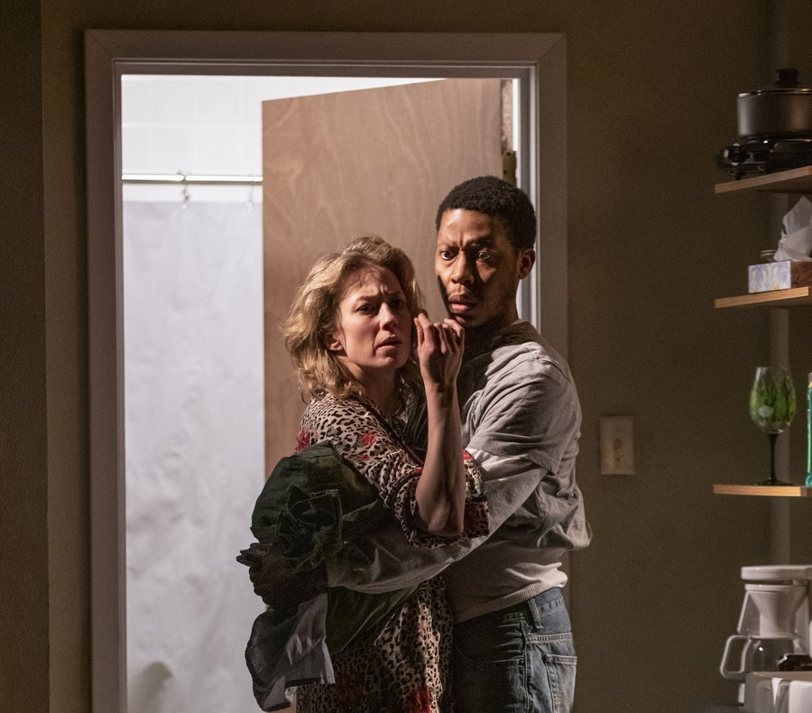 """Carrie Coon (Agnes White) and Namir Smallwood (Peter Evans) in Steppenwolf's production of """"Bug."""""""