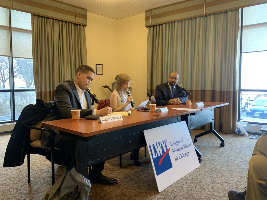Incumbent Sen. Robert Peters and challenger Ken Thomas participated in a candidate forum for the 13th District of Illinois Senate hosted by the League of Women Voters-Chicago.