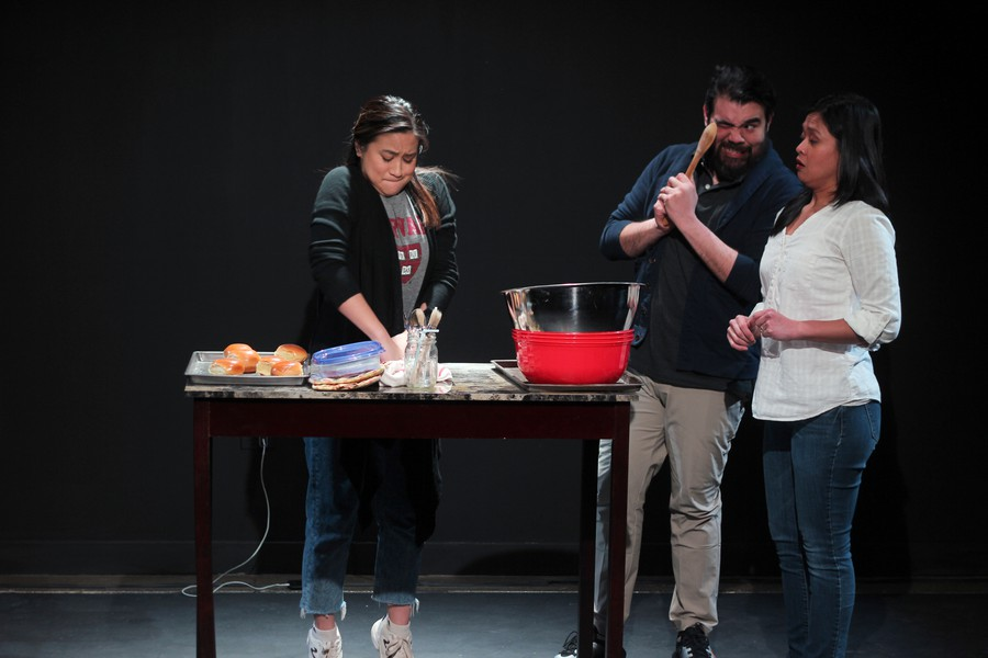"Janelle Villas, Ryan Tang and Vicky Snyder in ""Baked! The Musical,"" part of