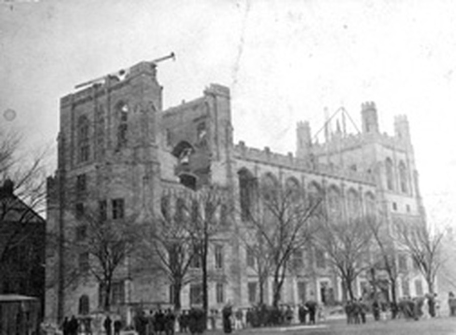 The West Tower of Harper Memorial Library collapsed during construction in 1911.