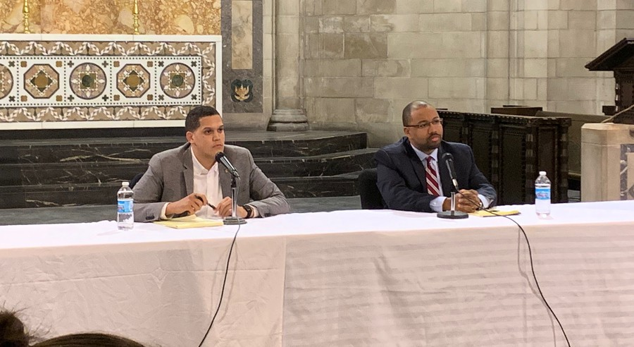 Incumbent Robert Peters and challenger Ken Thomas at a 13th District Candidate Forum on Monday, March 2, 2020.