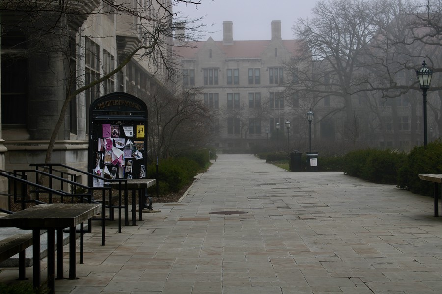 A misty day on a seemingly empty main quad, during UChicago's spring break in 2020, after many students had departed from campus.