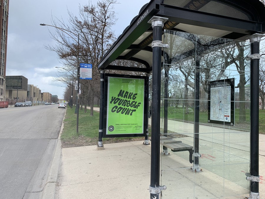 Advertisements for the U.S. Census have arrived at CTA bus stops.