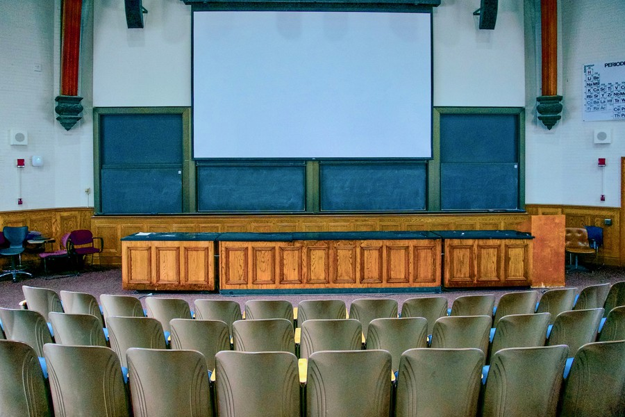 An empty Kent lecture hall.