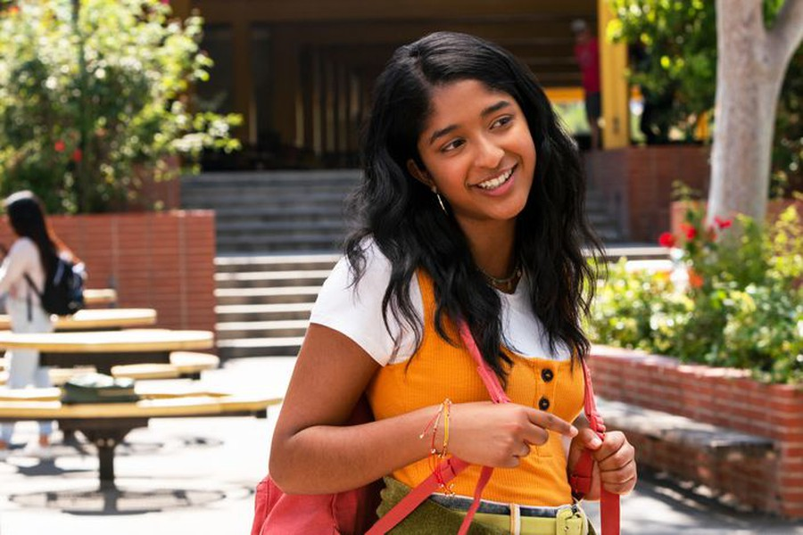 Maitreyi Ramakrishnan as Devi in Netflix's latest teen rom-com.