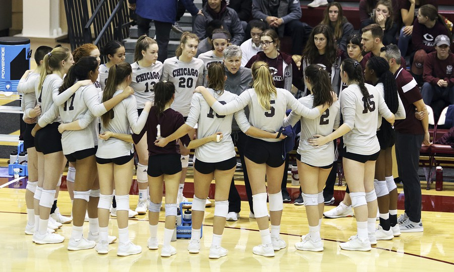 The women's volleyball team at their final match of the 2019 season.