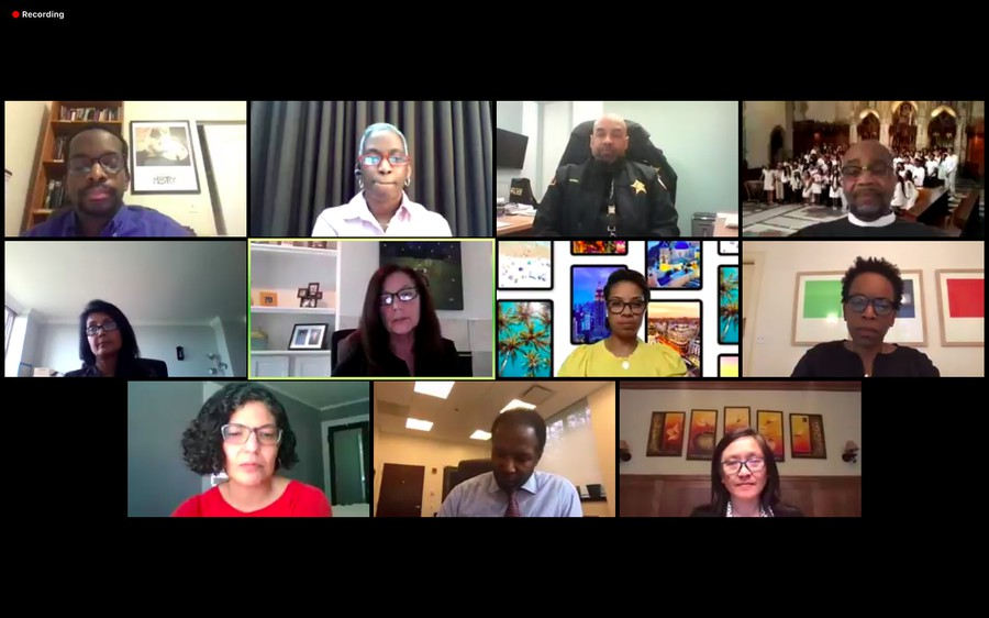"""Panelists at a webinar hosted on Thursday evening by Provost Ka Ye Lee, """"Taking a Stand Against Racism: Our Shared Values and Responsibilities."""""""