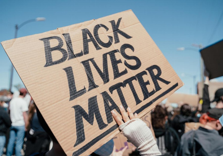 A Black Lives Matter sign from a protest in Chicago.