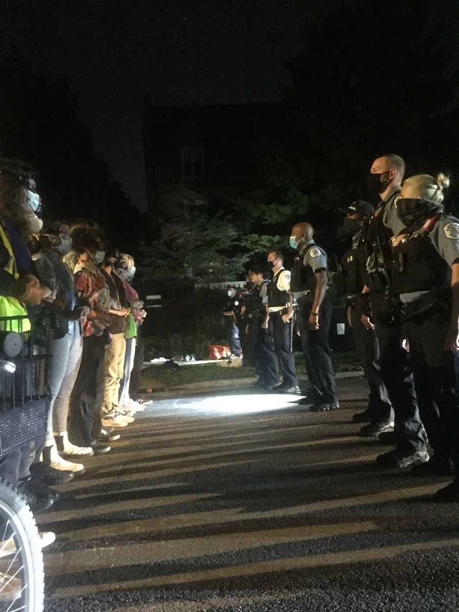 Protestors and police stand off on the evening of Friday, September 4th, 2020, as a weeklong occupation of the street near Provost Ka Yee Lee's home concludes.