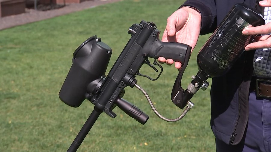 A paintball gun. Courtesy of NBC Chicago.