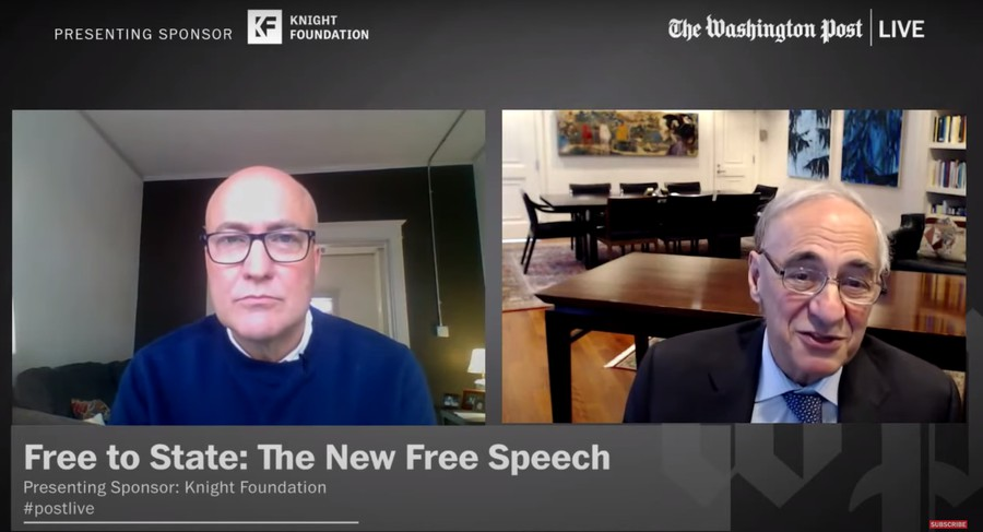 """On October 21, President Zimmer spoke about the Chicago Principles at the Washington Post's webinar """"Free to State: The New Free Speech,"""" hosted by """"Opinions at Large"""" Editor Michael Duffy."""
