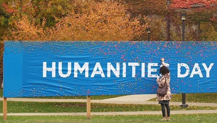 A banner promoting Humanities Day 2010. Humanities Day was held virtually this year because of the ongoing pandemic. Photo by Hannah Hayes of Tableau, the magazine of the division of the humanities at UChicago.