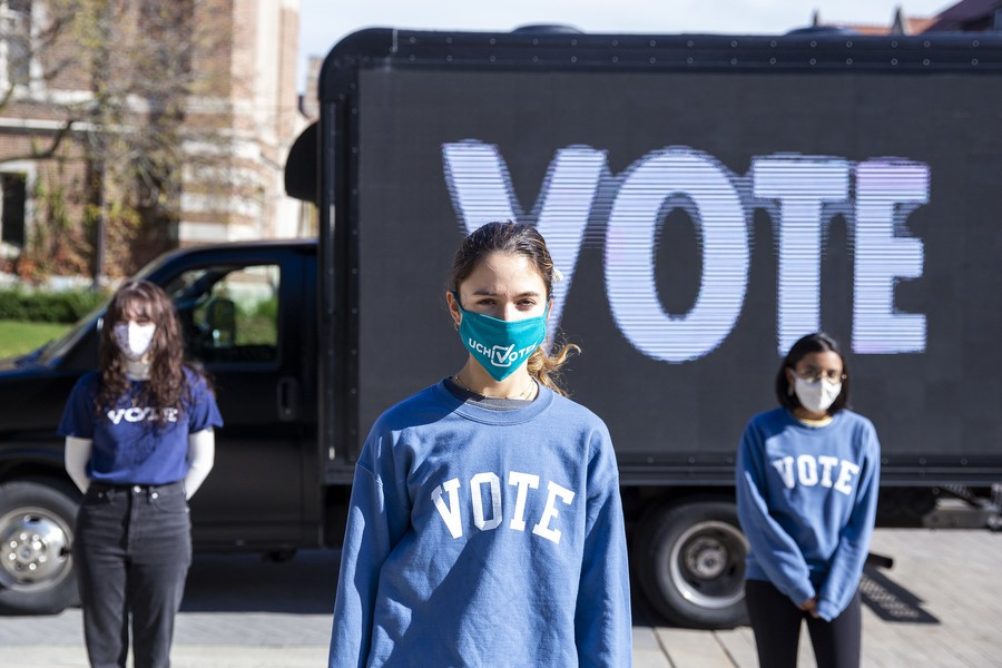 The student-led UChiVotes initiative collaborated with artist and alumna Jenny Holzer, EX'74, leading efforts to engage voters on campus.
