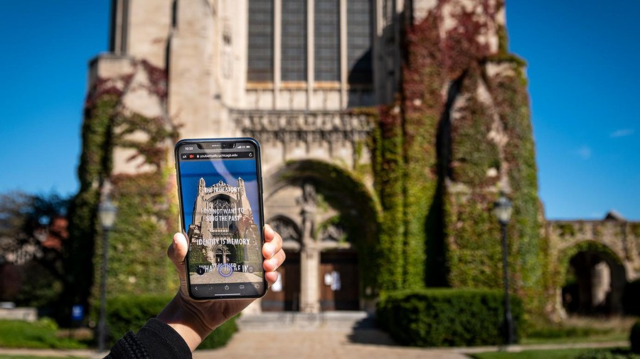 Rockefeller Chapel reimagined through augmented reality in Jenny Holzer's (EX '74) new public art project.