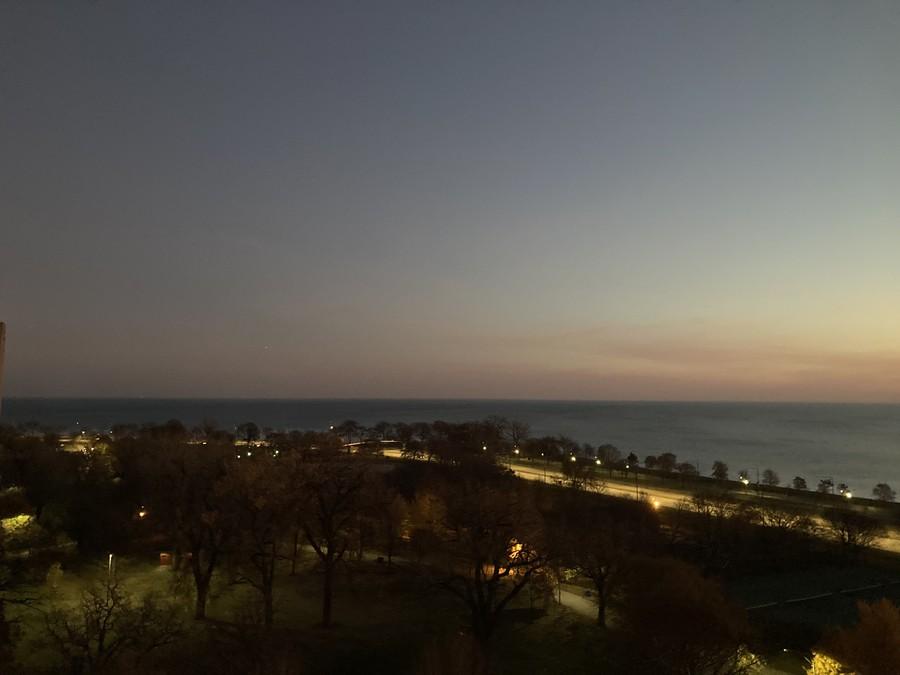 Overlooking Harold Washington Park and Lake Shore Drive at dawn.