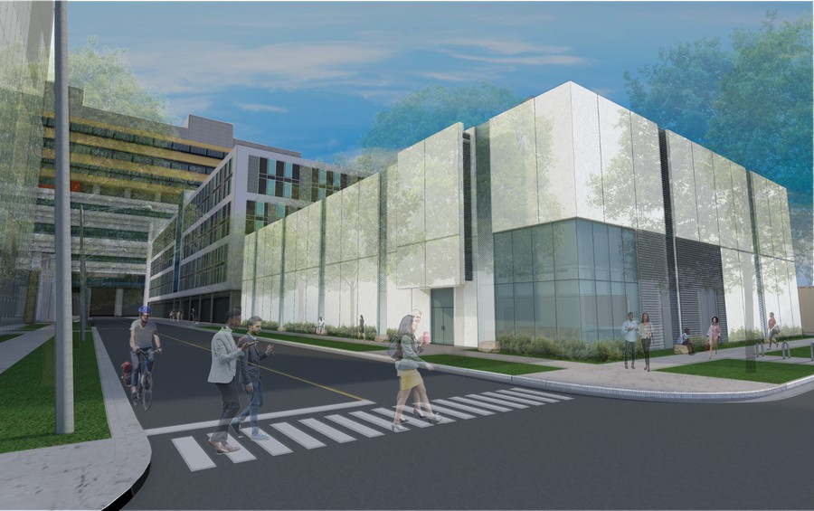 Artist's renderings of the currently under-construction high-bay research laboratory.