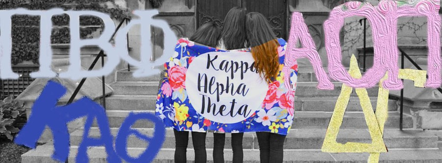 UChicago Kappa Alpha Theta's Facebook banner advertises formal recruitment from 2016, edited here and overlaid with cutouts of signs taken from other images promoting sorority recruitment.