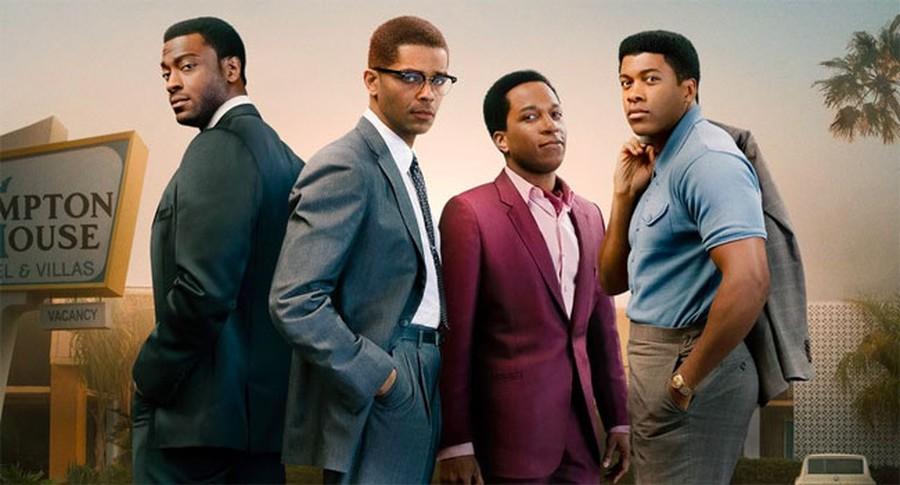 "From left to right: Aldis Hodge (Jim Brown), Kingsley Ben-Adir (Malcolm X), Leslie Odom Jr. (Sam Cooke), and Eli Goree (Muhammad Ali) in ""One Night in Miami."""