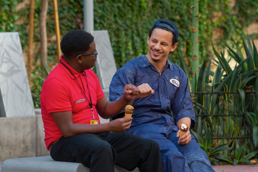 """Lil Rel Howery and Eric André in """"Bad Trip""""."""