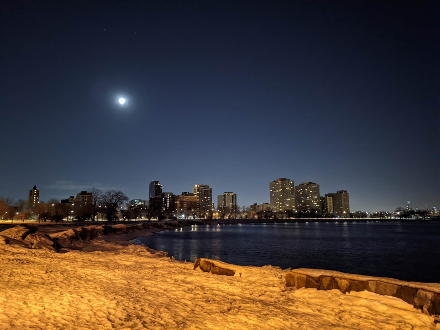 The Promontory Point on a winter night.
