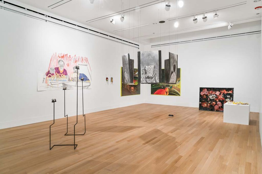 """An installation view of """"youre muted"""" at the Reva and David Logan Center for the Arts."""