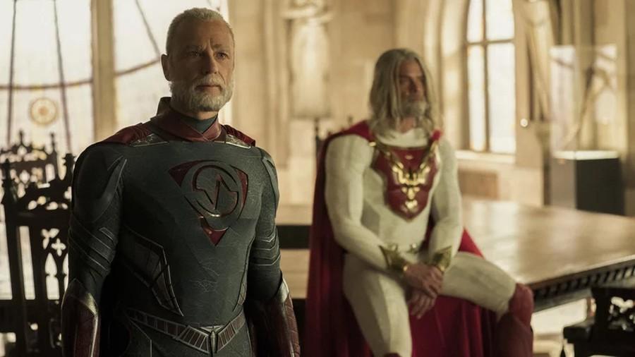 "Brainwave (Ben Daniels) and The Utopian (Josh Duhamel) in Netflix's ""Jupiter's Legacy."""