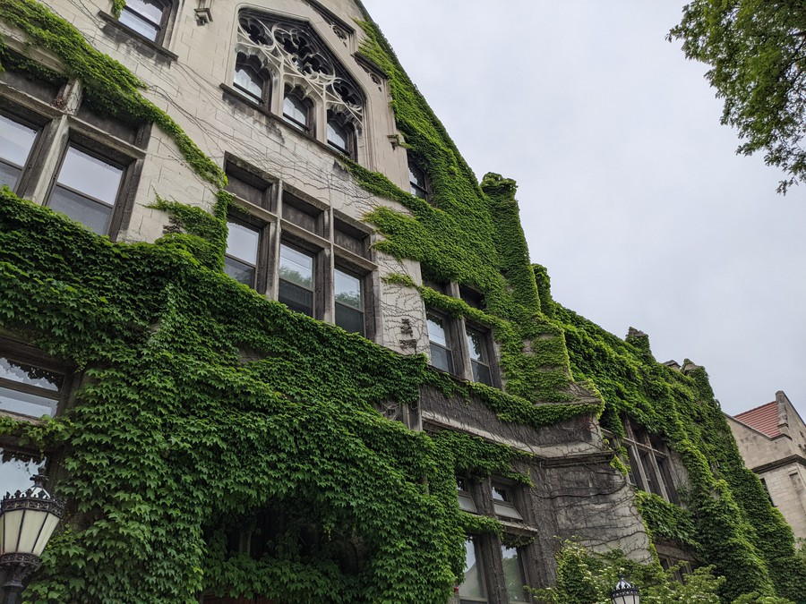 Haskell Hall on a cloudy spring day.