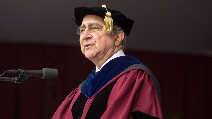 Hugo Sonnenschein speaking at the University's 523rd Convocation on June 13, 2015.
