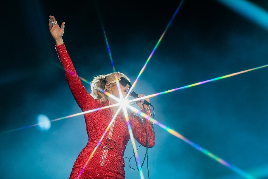 Miley Cyrus performs at Lollapalooza.